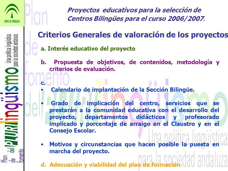 Criterios Generales de valoración de los proyectos