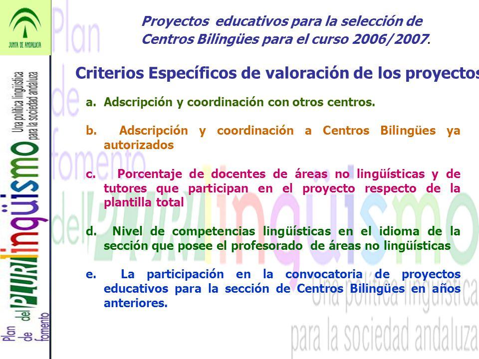 Criterios Específicos de valoración de los proyectos
