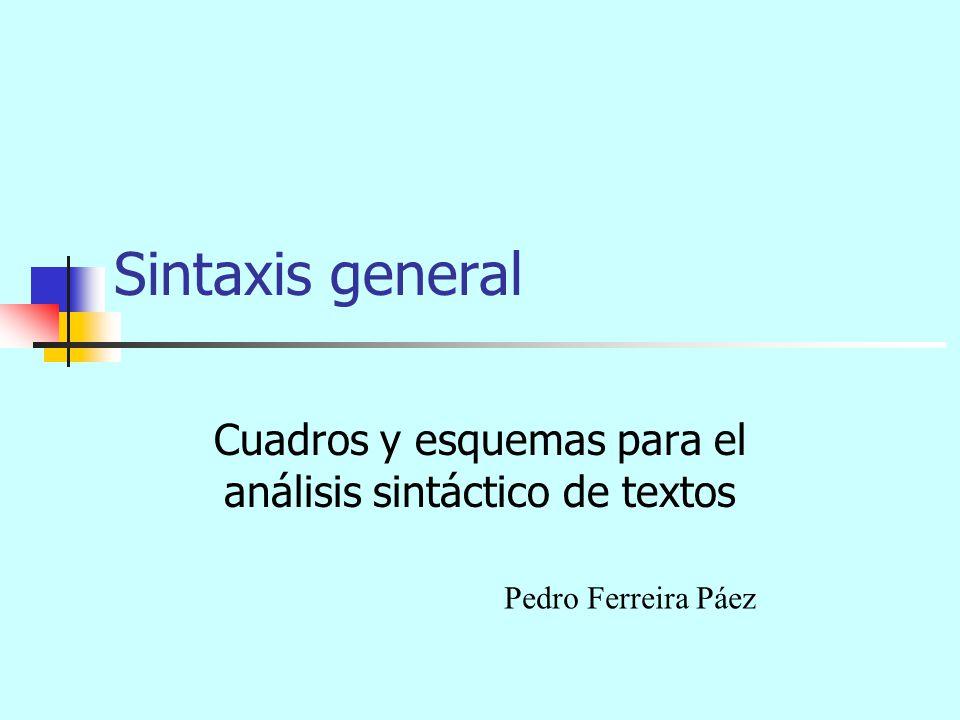 Cuadros y esquemas para el análisis sintáctico de textos