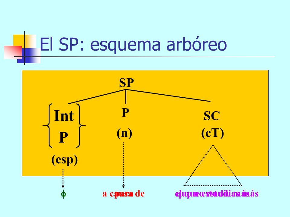 El SP: esquema arbóreo Int P SP P SC (n) (cT) (esp)