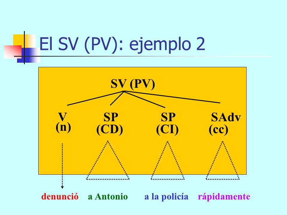 El SV (PV): ejemplo 2 SV (PV) V SP SP SAdv (n) (CD) (CI) (cc)