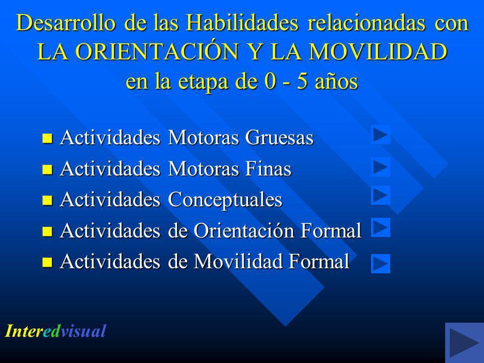 Desarrollo de las Habilidades relacionadas con LA ORIENTACIÓN Y LA MOVILIDAD en la etapa de 0 - 5 años