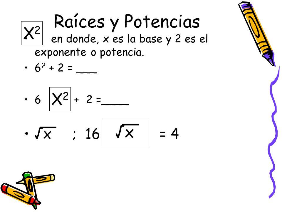 Raíces y Potencias X2 X2 √x √x ; 16 = 4