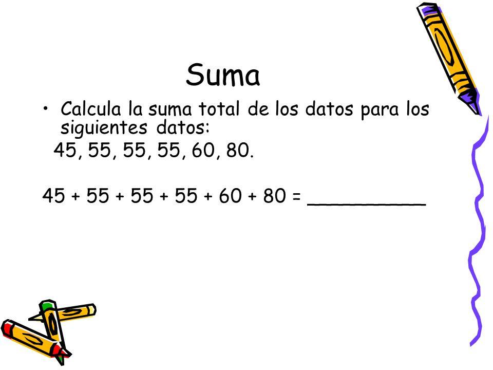 Suma Calcula la suma total de los datos para los siguientes datos: