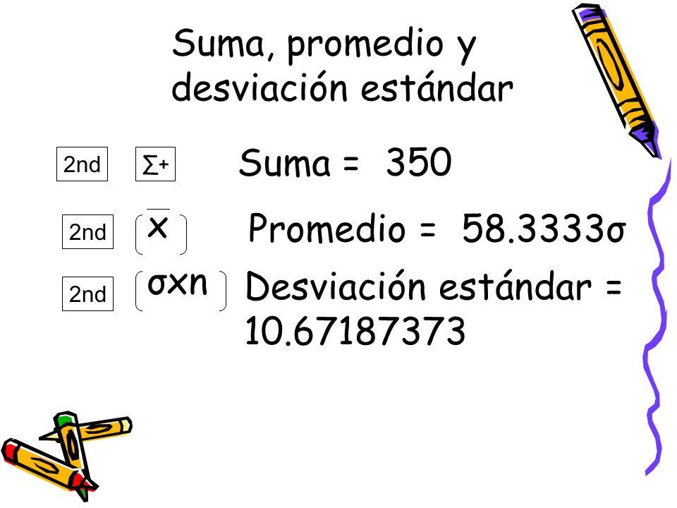 Suma, promedio y desviación estándar Suma = 350 x Promedio = 58.3333σ