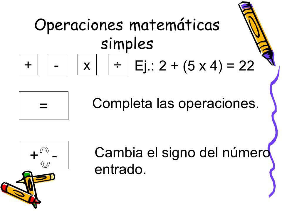 Operaciones matemáticas simples