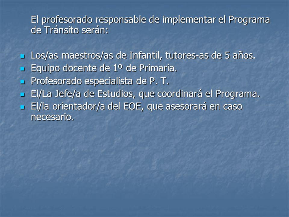 El profesorado responsable de implementar el Programa de Tránsito serán: