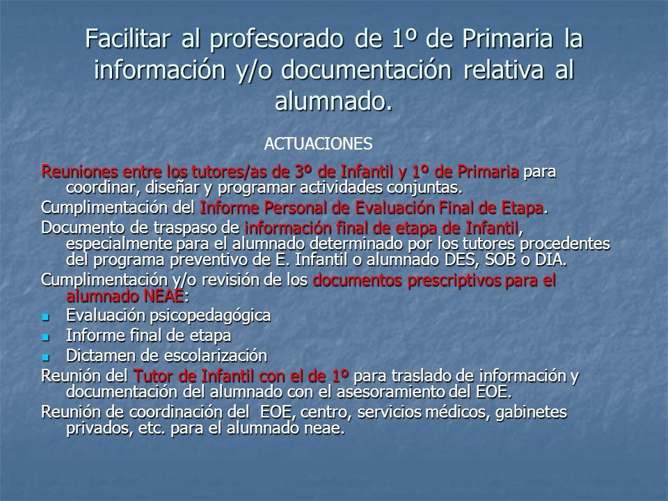 Facilitar al profesorado de 1º de Primaria la información y/o documentación relativa al alumnado.