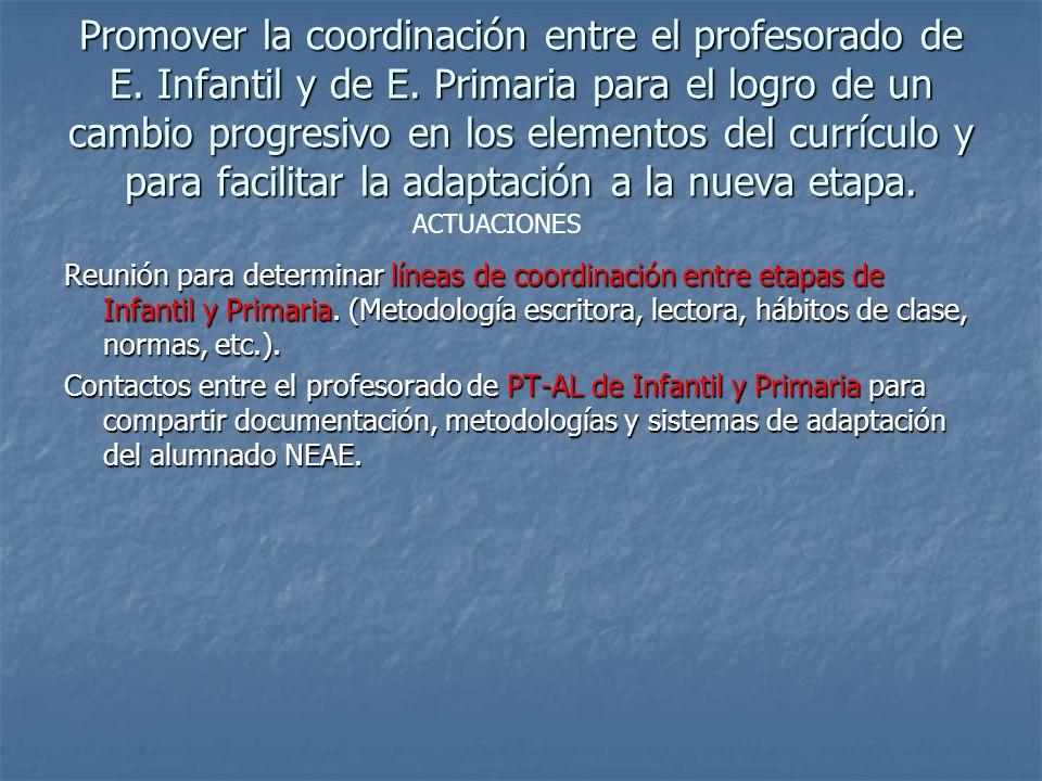 Promover la coordinación entre el profesorado de E. Infantil y de E