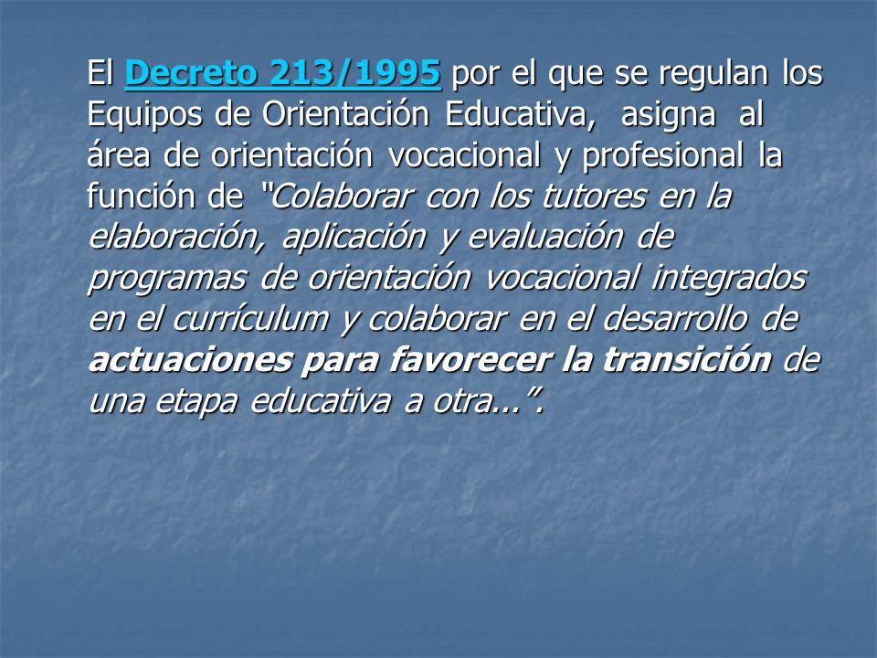 El Decreto 213/1995 por el que se regulan los Equipos de Orientación Educativa, asigna al área de orientación vocacional y profesional la función de Colaborar con los tutores en la elaboración, aplicación y evaluación de programas de orientación vocacional integrados en el currículum y colaborar en el desarrollo de actuaciones para favorecer la transición de una etapa educativa a otra... .