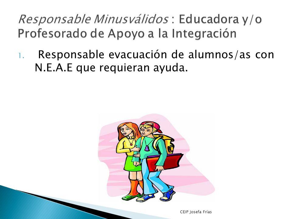 Responsable Minusválidos : Educadora y/o Profesorado de Apoyo a la Integración
