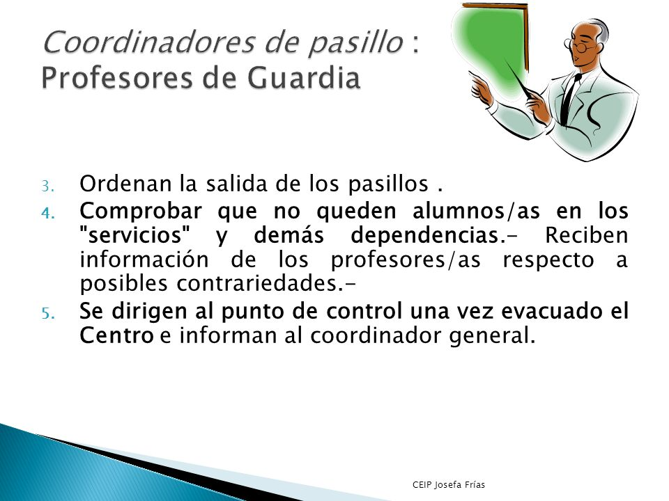 Coordinadores de pasillo : Profesores de Guardia