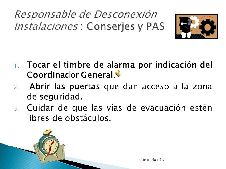 Responsable de Desconexión Instalaciones : Conserjes y PAS