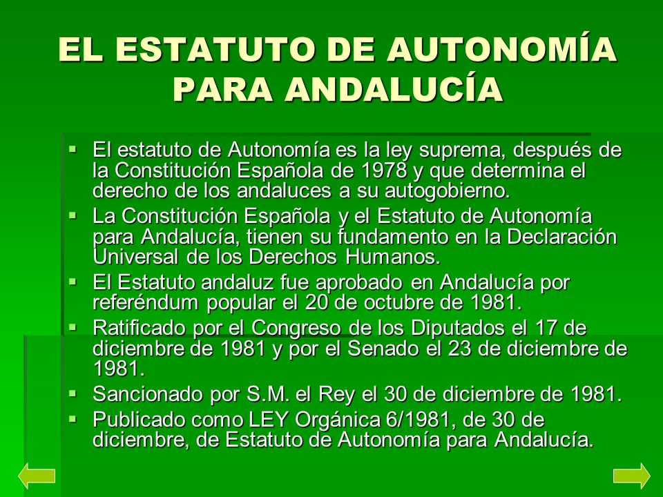 EL ESTATUTO DE AUTONOMÍA PARA ANDALUCÍA