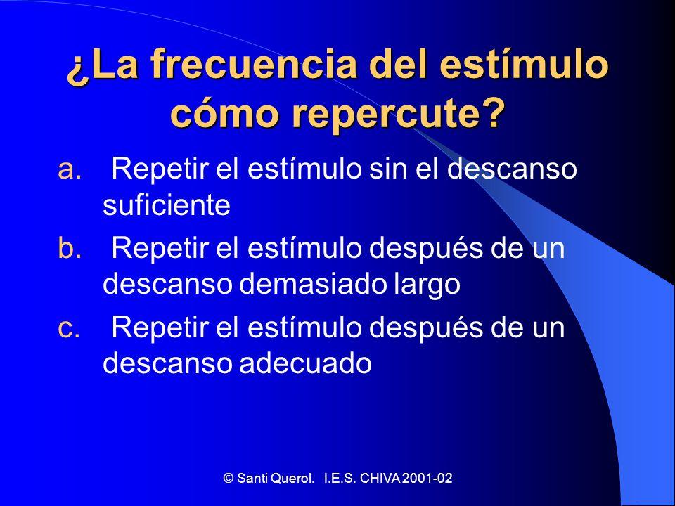 ¿La frecuencia del estímulo cómo repercute