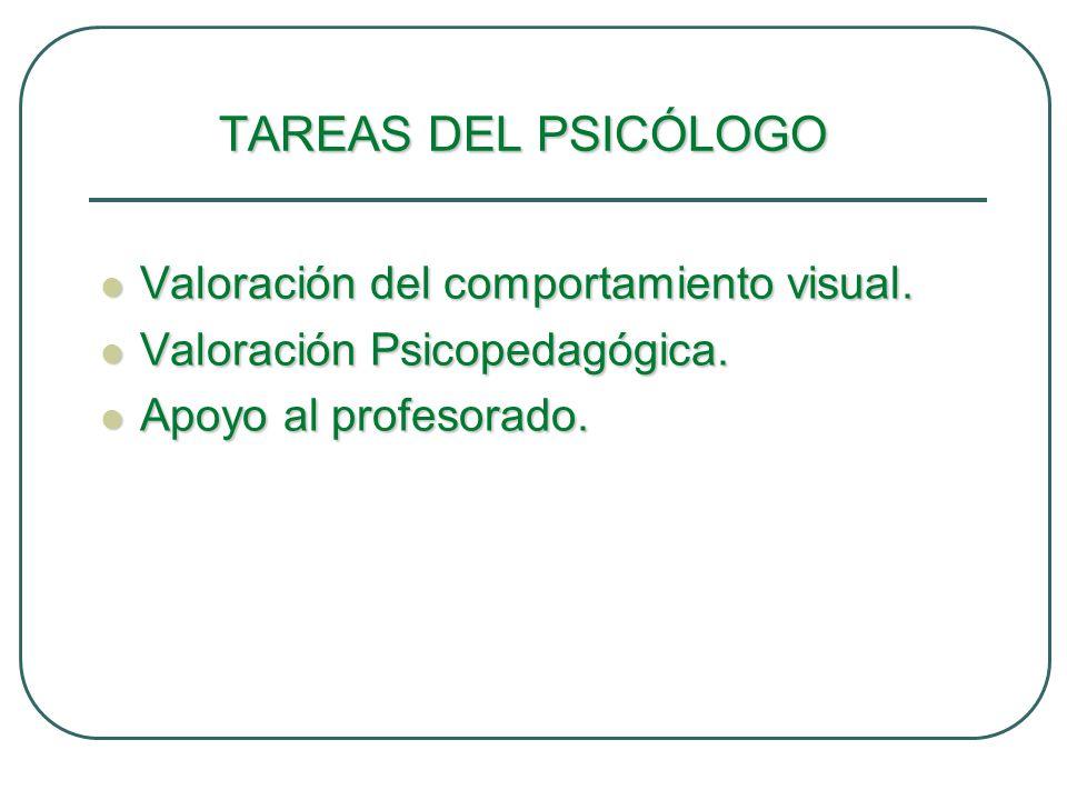 TAREAS DEL PSICÓLOGO Valoración del comportamiento visual.