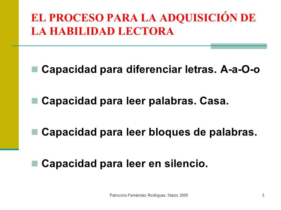 EL PROCESO PARA LA ADQUISICIÓN DE LA HABILIDAD LECTORA