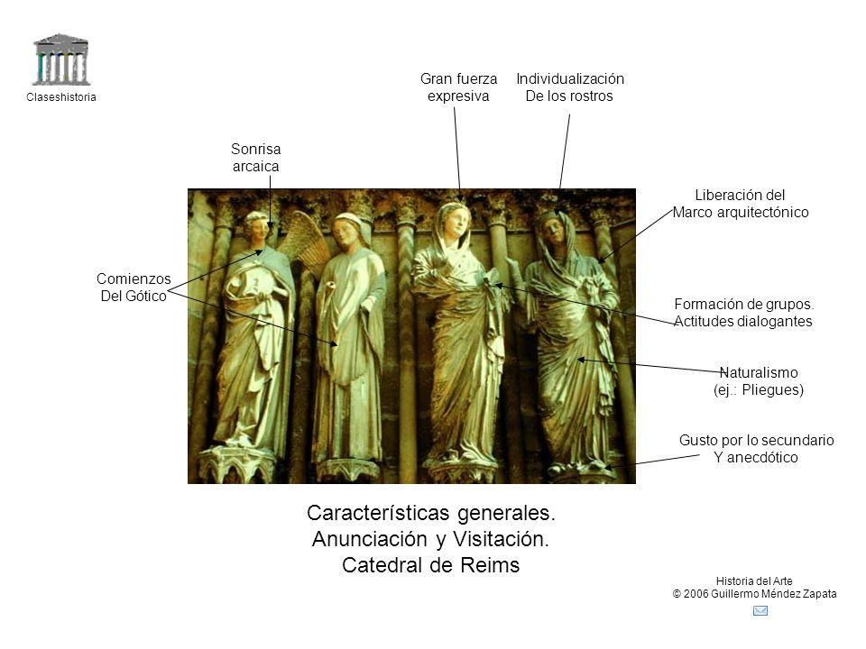 Características generales. Anunciación y Visitación. Catedral de Reims