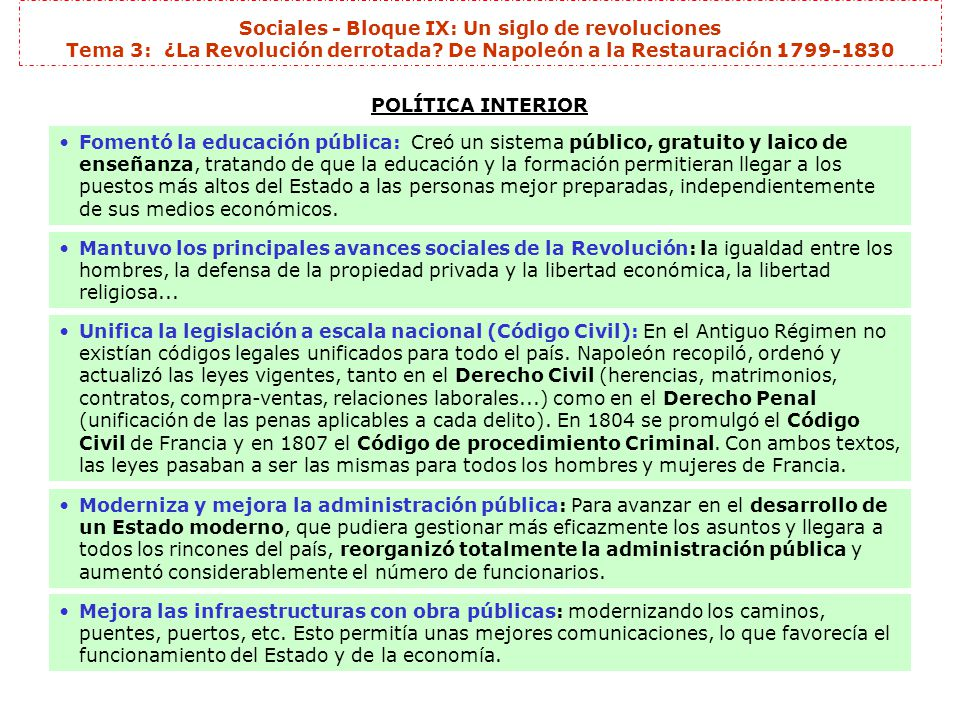 Sociales - Bloque IX: Un siglo de revoluciones Tema 3: ¿La Revolución derrotada De Napoleón a la Restauración 1799-1830