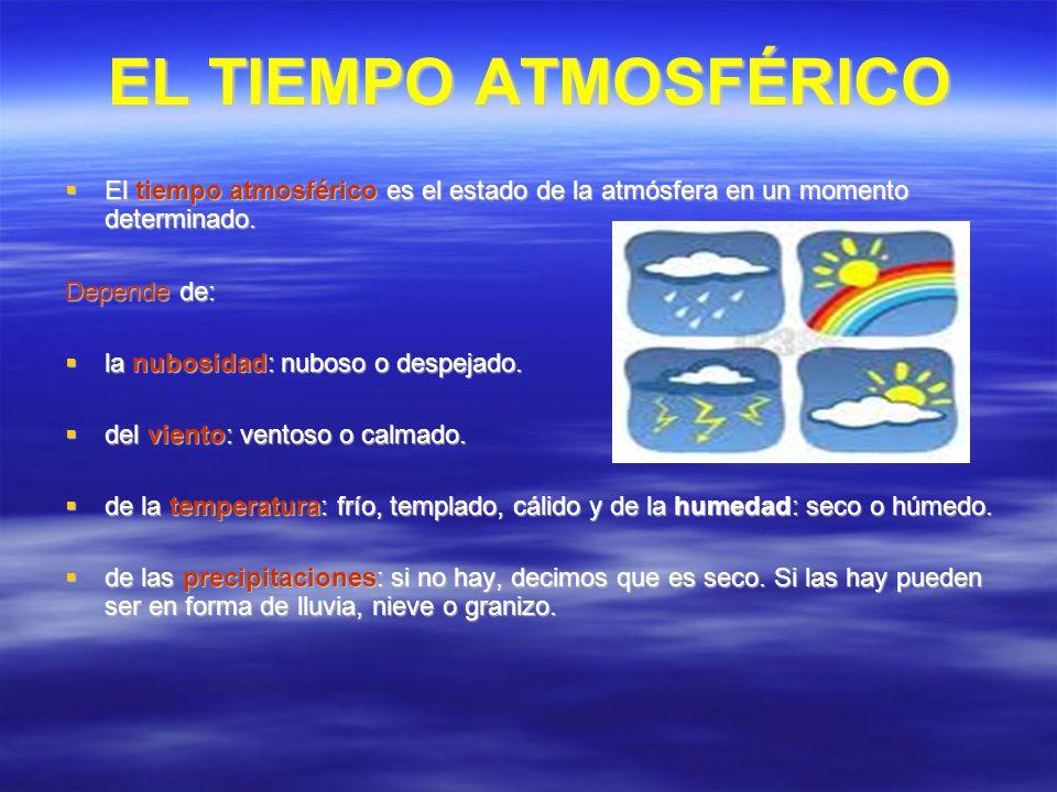 EL TIEMPO ATMOSFÉRICO El tiempo atmosférico es el estado de la atmósfera en un momento determinado.