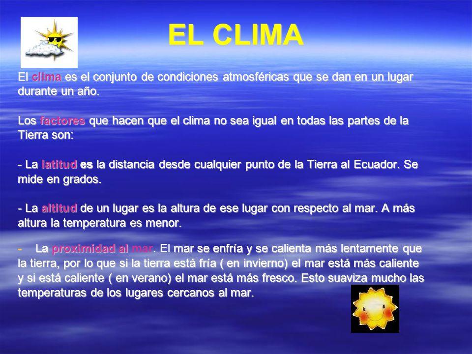EL CLIMA El clima es el conjunto de condiciones atmosféricas que se dan en un lugar. durante un año.