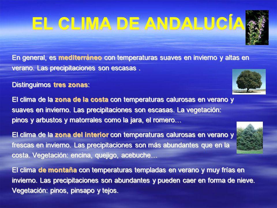 EL CLIMA DE ANDALUCÍA En general, es mediterráneo con temperaturas suaves en invierno y altas en. verano. Las precipitaciones son escasas .