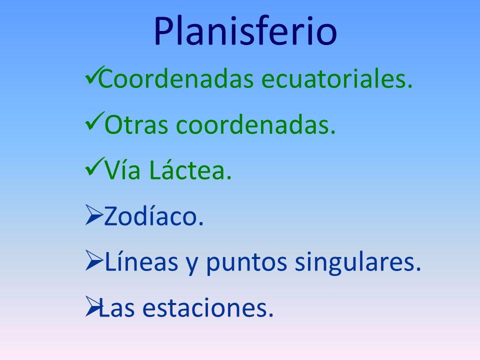 Planisferio Coordenadas ecuatoriales. Otras coordenadas. Vía Láctea.