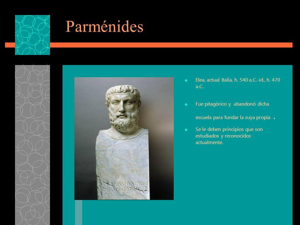 Parménides Elea, actual Italia, h. 540 a.C.-id., h. 470 a.C.