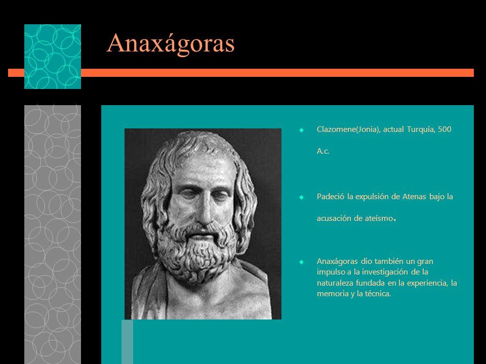 Anaxágoras Clazomene(Jonia), actual Turquía, 500 A.c.