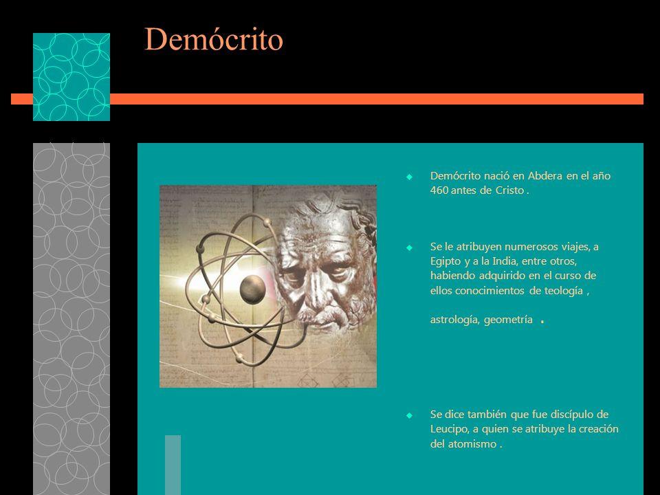 Demócrito Demócrito nació en Abdera en el año 460 antes de Cristo .