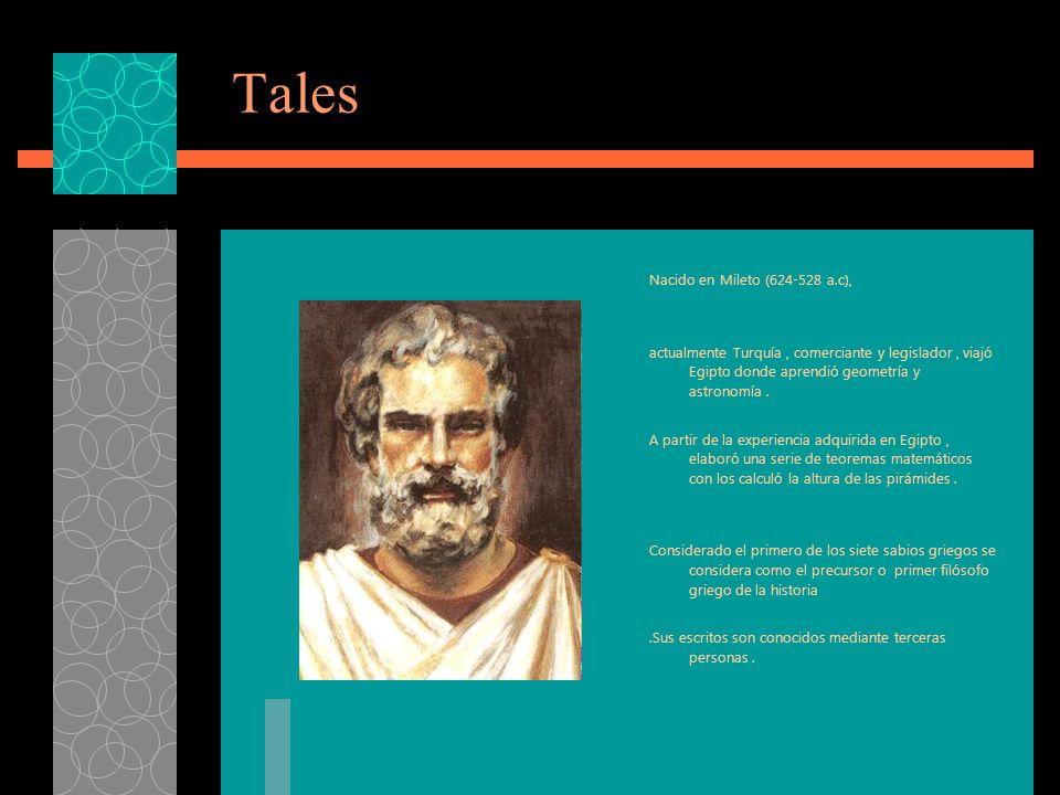 Tales Nacido en Mileto (624-528 a.c),