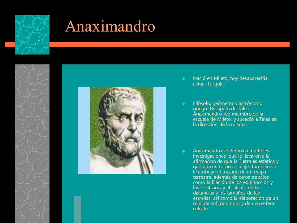 Anaximandro Nació en Mileto, hoy desaparecida, actual Turquía,