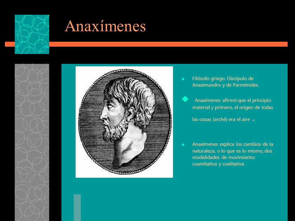 Anaxímenes Filósofo griego. Discípulo de Anaximandro y de Parménides.