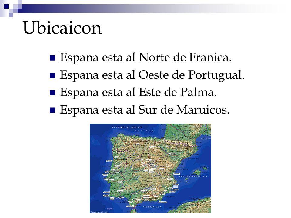 Ubicaicon Espana esta al Norte de Franica.