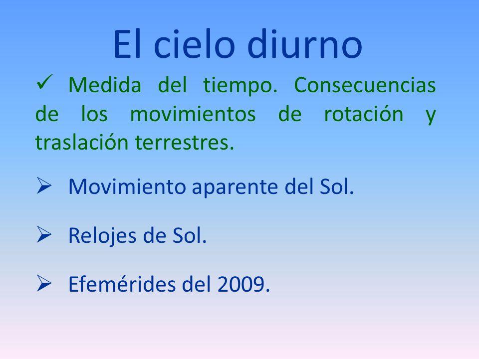 El cielo diurno Medida del tiempo. Consecuencias de los movimientos de rotación y traslación terrestres.