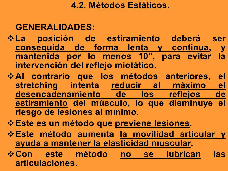 4.2. Métodos Estáticos. GENERALIDADES: