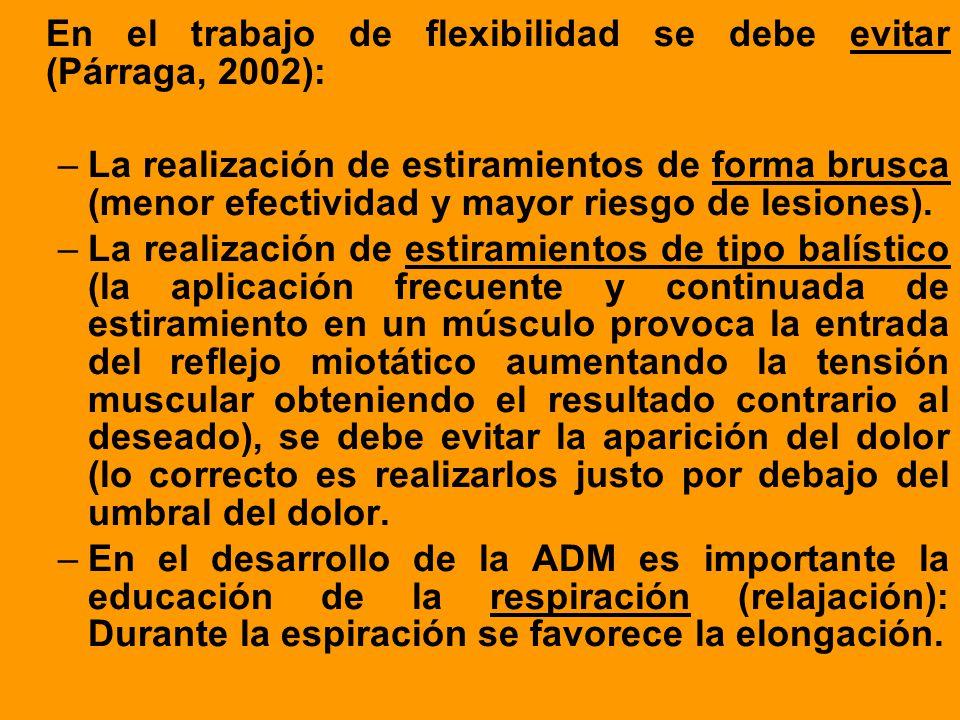En el trabajo de flexibilidad se debe evitar (Párraga, 2002):