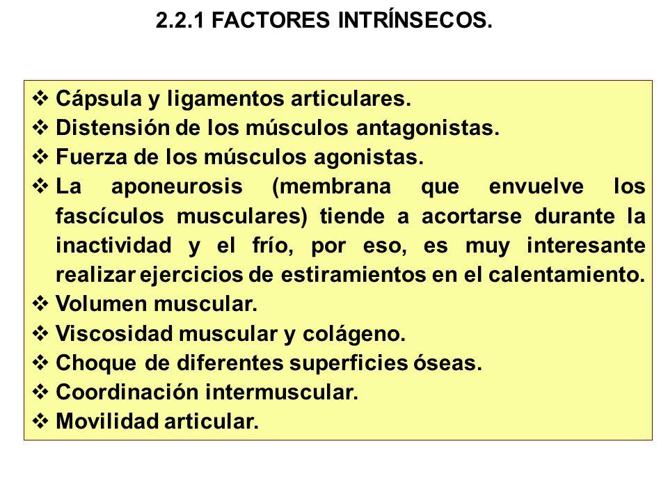 2.2.1 FACTORES INTRÍNSECOS. Cápsula y ligamentos articulares. Distensión de los músculos antagonistas.