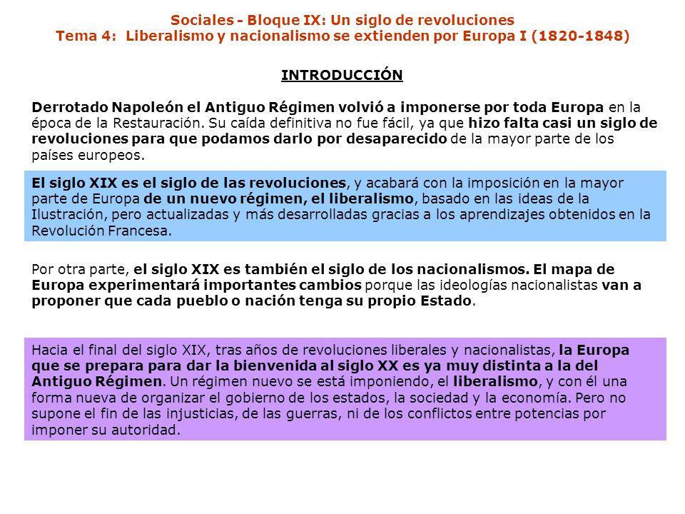 Sociales - Bloque IX: Un siglo de revoluciones Tema 4: Liberalismo y nacionalismo se extienden por Europa I (1820-1848)