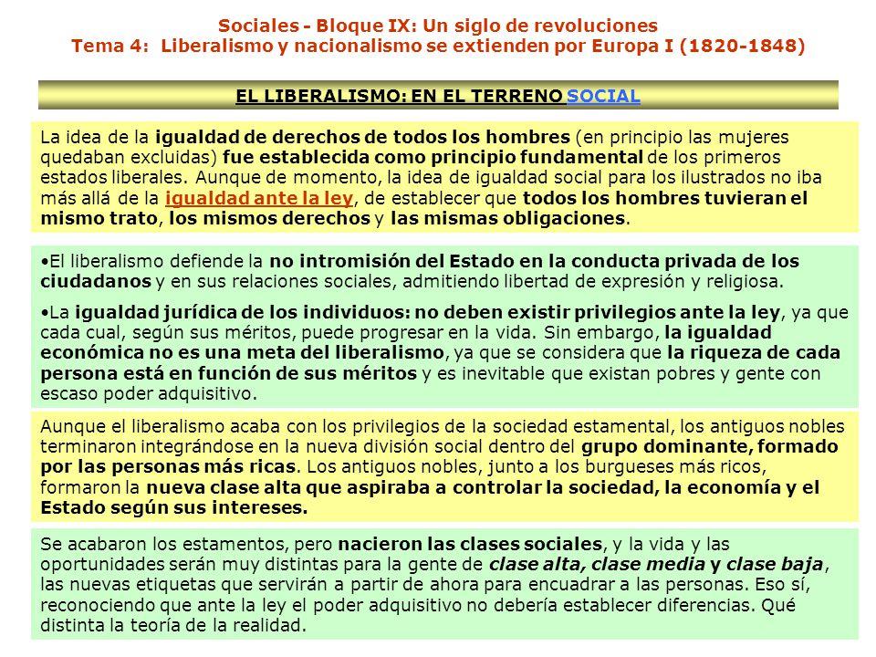 EL LIBERALISMO: EN EL TERRENO SOCIAL