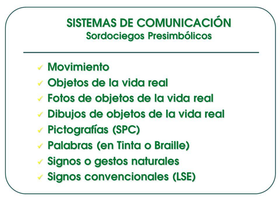 SISTEMAS DE COMUNICACIÓN Sordociegos Presimbólicos