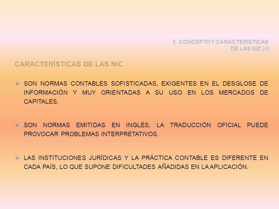 CARACTERÍSTICAS DE LAS NIC