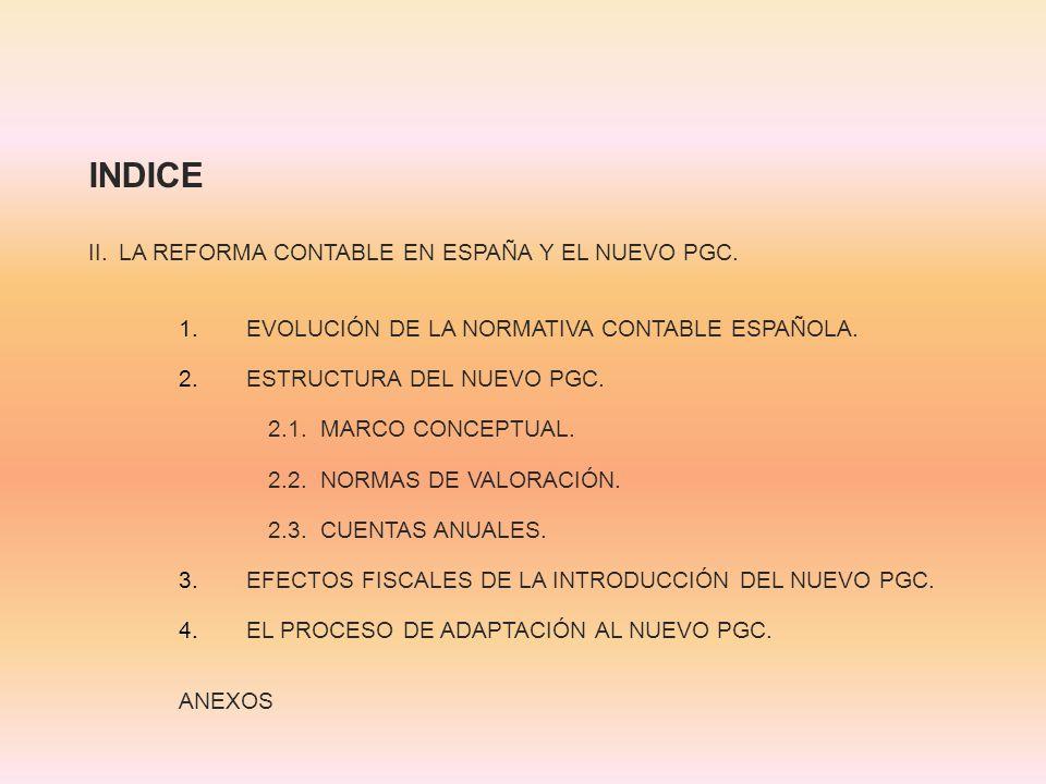 INDICE II. LA REFORMA CONTABLE EN ESPAÑA Y EL NUEVO PGC.