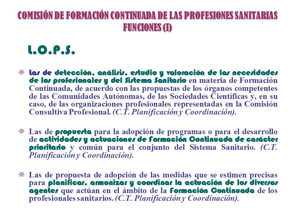 COMISIÓN DE FORMACIÓN CONTINUADA DE LAS PROFESIONES SANITARIAS FUNCIONES (I)