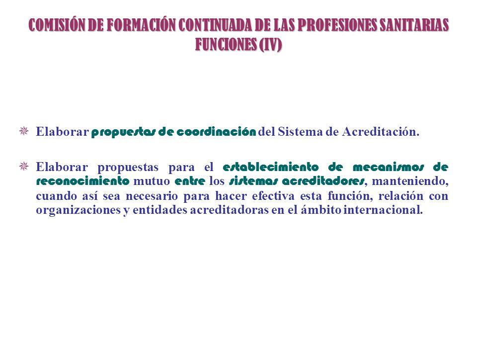 COMISIÓN DE FORMACIÓN CONTINUADA DE LAS PROFESIONES SANITARIAS FUNCIONES (IV)