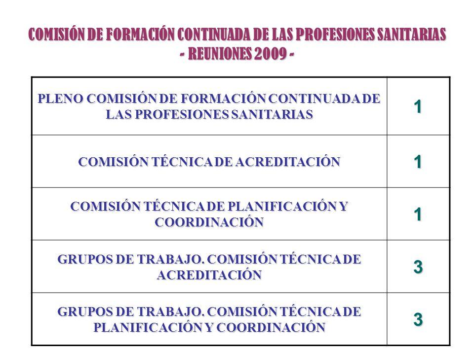 COMISIÓN DE FORMACIÓN CONTINUADA DE LAS PROFESIONES SANITARIAS - REUNIONES 2009 -