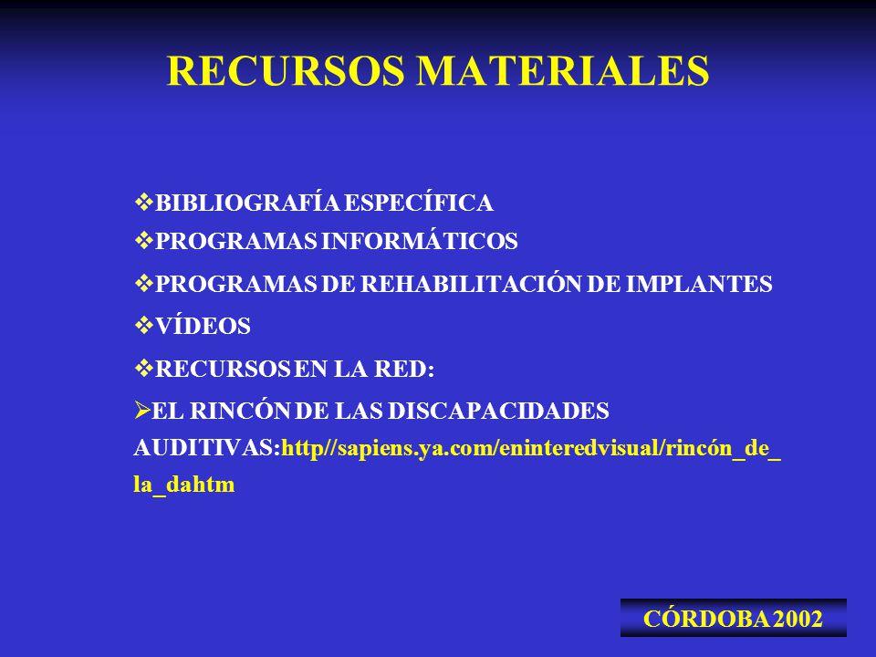 RECURSOS MATERIALES BIBLIOGRAFÍA ESPECÍFICA PROGRAMAS INFORMÁTICOS