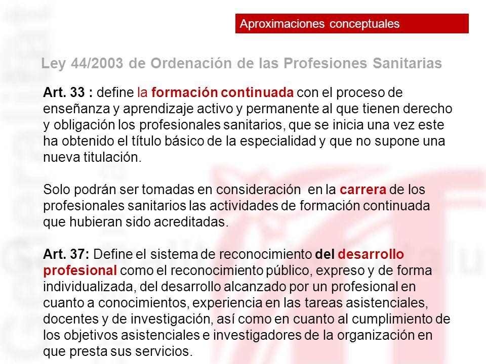 Ley 44/2003 de Ordenación de las Profesiones Sanitarias