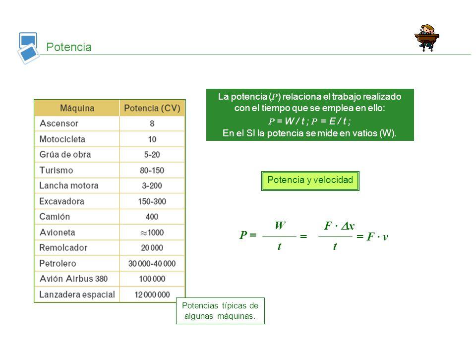 Potencia P = W F · x = t = F · v