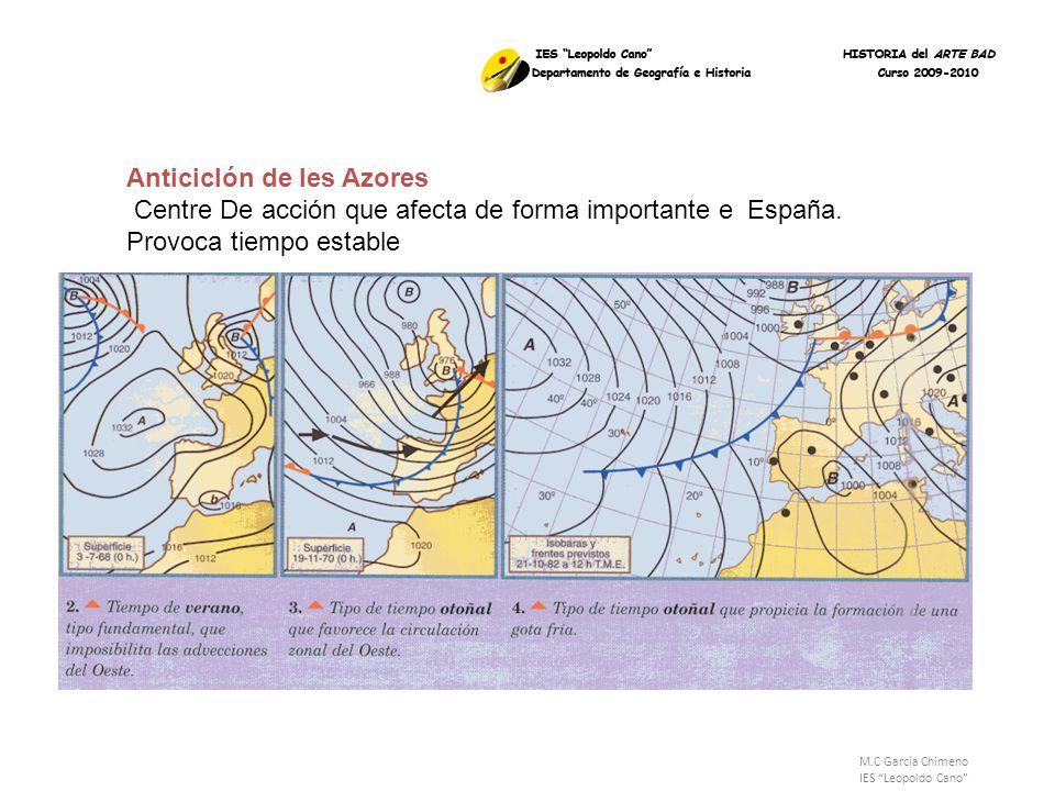 Anticiclón de les Azores Centre De acción que afecta de forma importante e España. Provoca tiempo estable